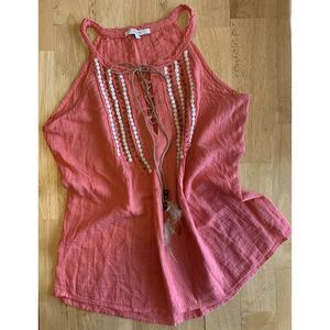 Miss Me Women's Size S Coral Embroidered Top